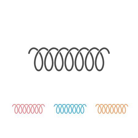 Spiralfeder-Vektor-Icon-Set von Wirbellinie oder gebogenem Drahtschnurmuster
