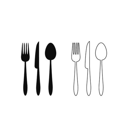 Spoon, fork and knife icon set vector Ilustração