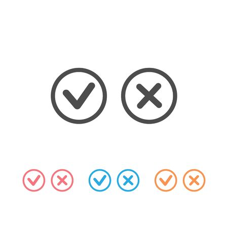 Checkmark-Check, X or Approve & Deny Line Art Vector Color Icon set for Apps and Websites. Vector