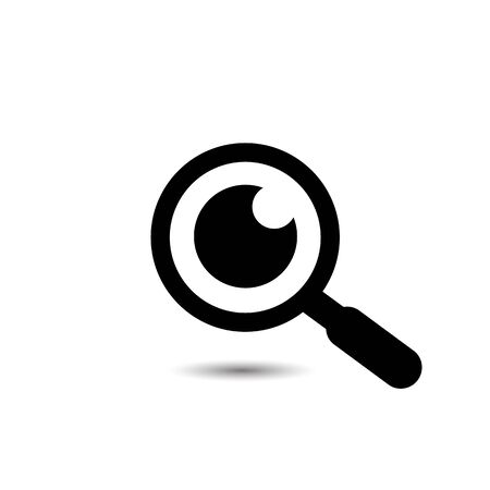 Magnifying glass with eye vector icon, isolated on white