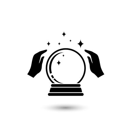 Crystal Ball Magic Icon With Hands. Ilustração