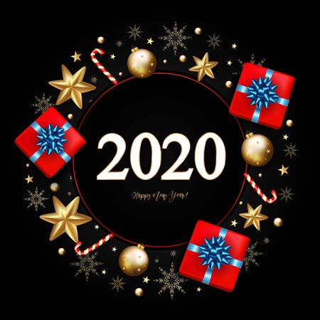 2020 New Year Decorative Border made of Festive Elements on black background. Vector illustration