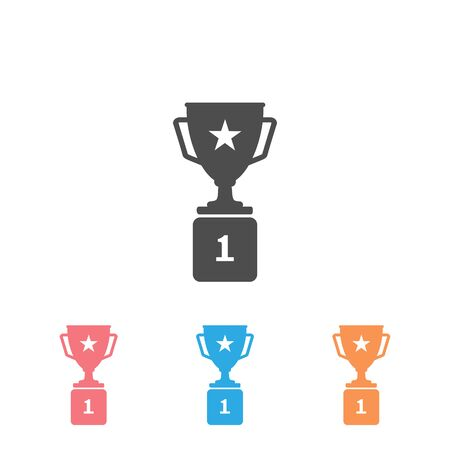 Trophy Icon Set in trendy flat style isolated white background. Prize symbol for your web site design, logo, app, UI. Vector illustration