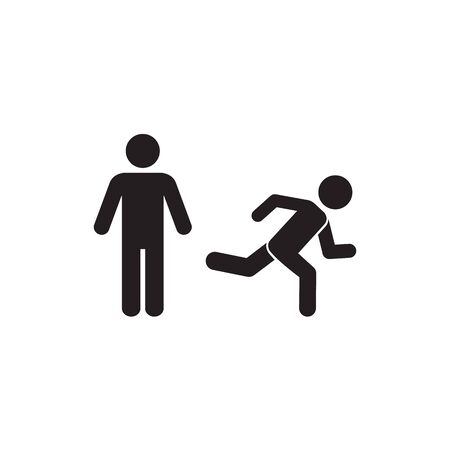 Man, person standing and running illustration. Run, stand navigation wayfinding icon