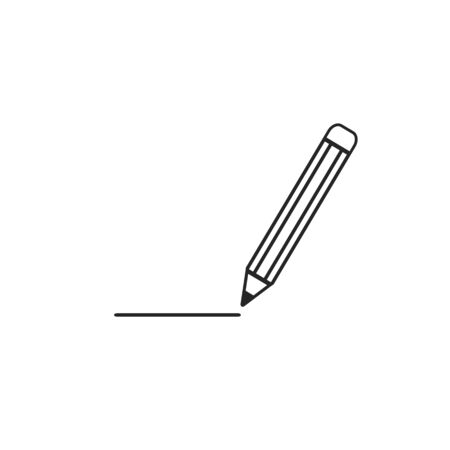 Pencil Icon Vector. Black pictogram in trendy flat style illustration on white background. Pencil logo design inspiration