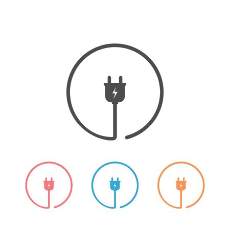 Plug icon for socket. Electric cable and adapter. Electrical concept device. Icon set