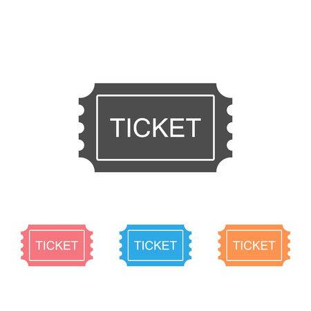 Ticket Icon Set. Pass, Permission or Admission Symbol, Vector Illustration Logo Template. Presented in Glyph Style for Design Websites, Presentation or Mobile Apps Иллюстрация