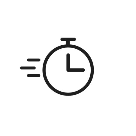 Clock or time flying icon isolated on white background. Timer sign. Flat time design concept