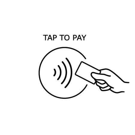 Paiement sans contact, carte de crédit et logo d'onde de paiement à la main. Icône de carte de paiement sans fil NFC vectorielle et sans contact