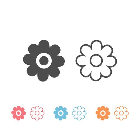 Flowers icon set vector lines and filled