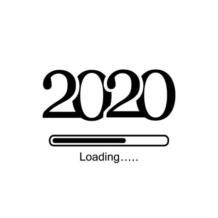 2020 loading line icon. Merry Christmas and Happy New Year, Loading bar icon. Vector