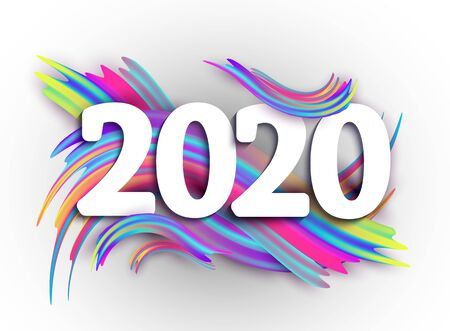 2020 New Year on the background of a colorful brushstroke oil or acrylic paint design element. Vector illustration