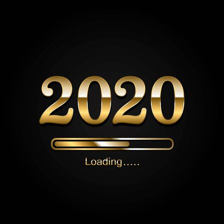 2020 loading icon. Merry Christmas and Happy New Year, Loading bar icon. Vector Ilustração