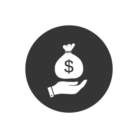 Bag of dollar money on hand icon vector for investment and stock market concept