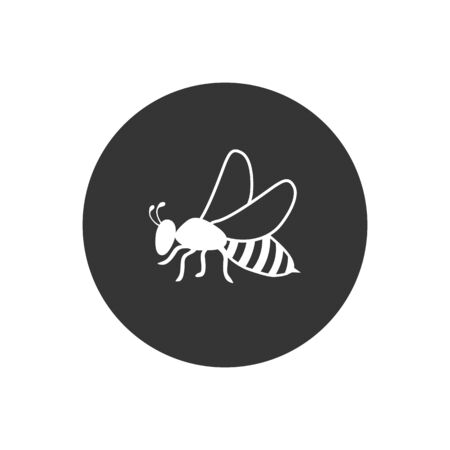 Bee icon, vector logo. Flat style