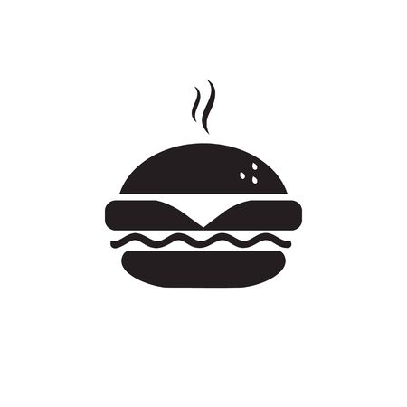 Fast food icon, burger icon. Vector simple black isolated illustration