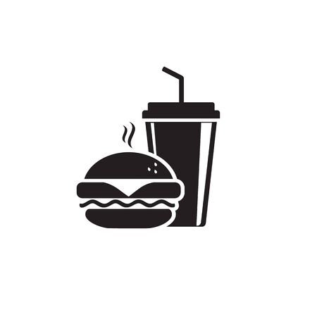 Fast Food Vector Icon. Burger and soda or cola drink silhouette, isolated symbol