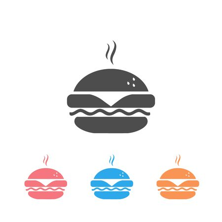Fast food icon, burger icon set. Vector simple black isolated illustration Banco de Imagens - 133062153