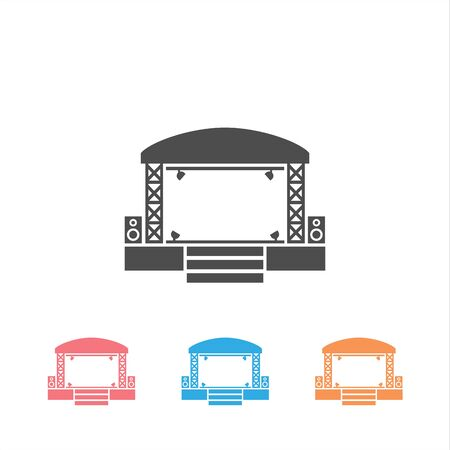 Concert stage icon set on white. Vector illustration