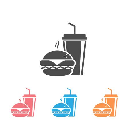 Fast Food Vector Icon Set. Burger and soda or cola drink silhouette, isolated symbol