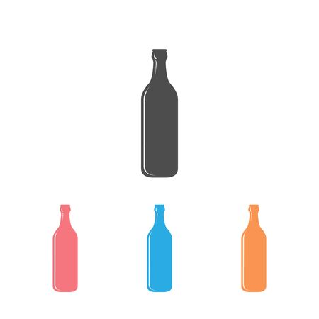 Single flat beer bottle icon set isolated on a white background. Vector