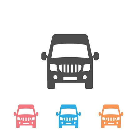 Van front view icon set isolated on white background. Vector