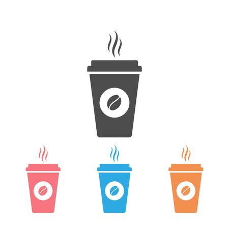Hot coffee cup vector icon set illustration isolated on white background