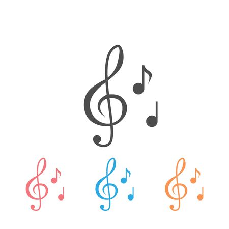 Music note illustration icon set. Sound and melody symbols