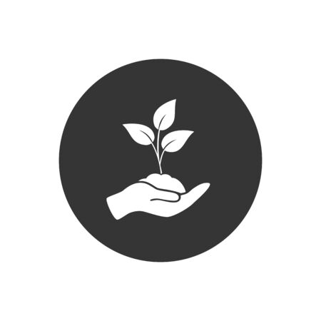 Leaf and hand, care nature icon vector