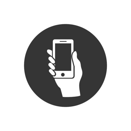 Hand hold the smartphone. Vector Vettoriali