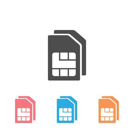 Sim card vector icon set. Sim card icon symbol. Sim card mobile slot icon