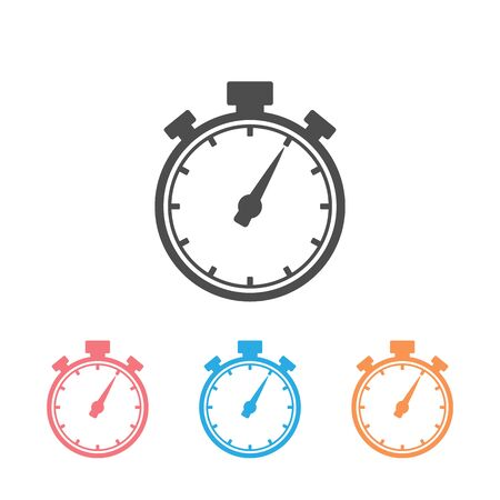 Stopwatch icon set in trendy flat style. Vector Illustration