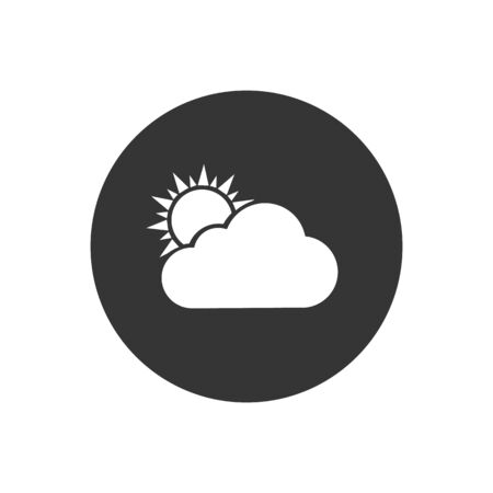 White Sun and cloud weather icon isolated on grey background. Vector Illustration  イラスト・ベクター素材