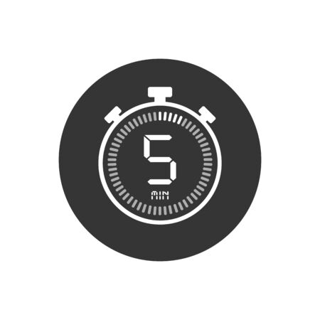 The 5 minutes, stopwatch vector icon, digital timer. Clock and watch, timer, countdown symbol