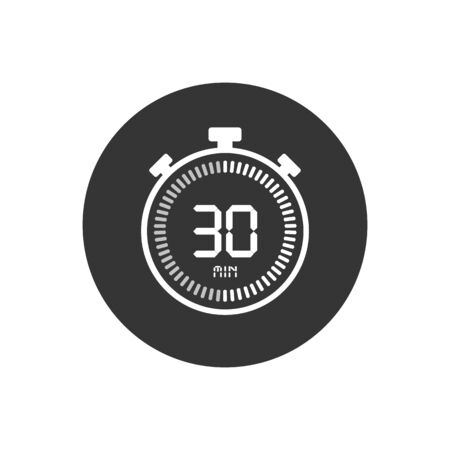 The 30 minutes, stopwatch vector icon, digital timer. Clock and watch, timer, countdown symbol