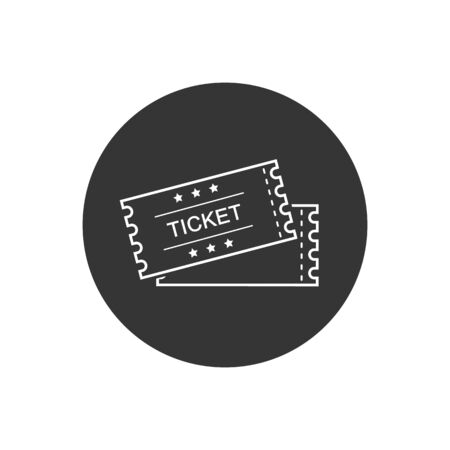 Ticket line vector icon. White illustration isolated on gray for graphic and web design  イラスト・ベクター素材