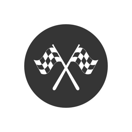 Two crossed racing flags isolated vector icon  イラスト・ベクター素材
