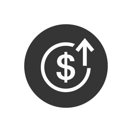 Up arrows with dollar sign in flat icon design on gray color background. Vector