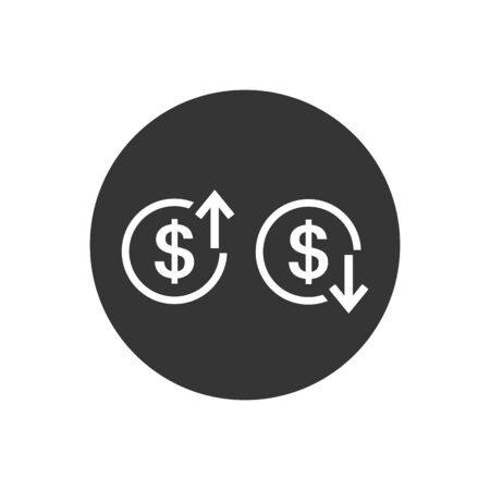Up and Down arrows with dollar sign in flat icon design on gray color background. Vector