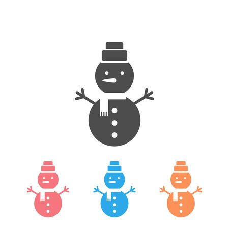 Vector icon set of snowman with hat and scarf  イラスト・ベクター素材
