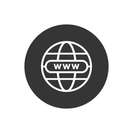 Web icon vector. Flat icon Web internet globe symbol with arrow