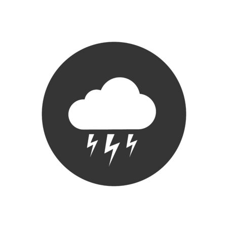 White Storm icon isolated on grey background. Cloud and lightning sign. Weather icon of storm. Vector Illustration