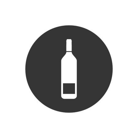 Wine bottle icon on gray. Vector illustration