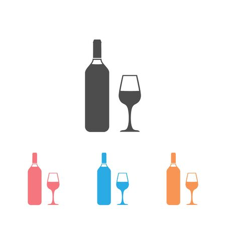 Wine icon Set Vector Illustration on the white background