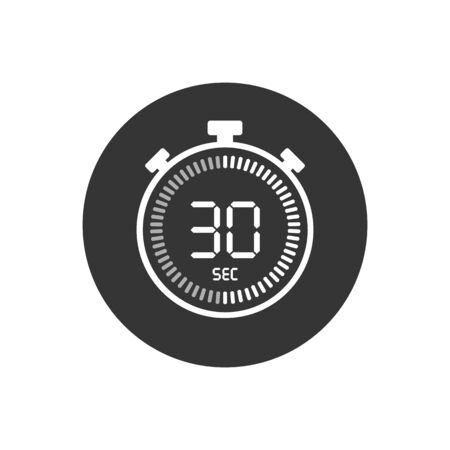 The 30 seconds, stopwatch vector icon, digital timer. Clock and watch, timer, countdown symbol