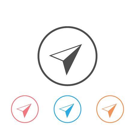 Arrow gps icon set on white. Vector