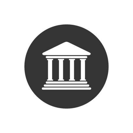 Bank icon symbol on gray background. Vector illustration