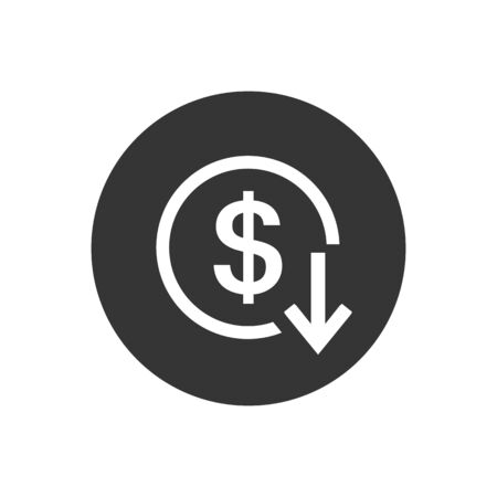 Dollar arrow down rate decrease price value finance icon sign rising business. Vector