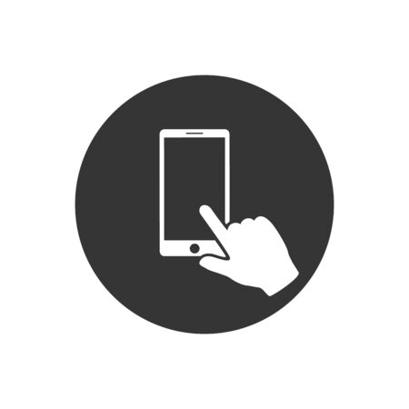 Finger on smartphone screen. Hand holds the smartphone and finger touches screen. Flat design illustration icon