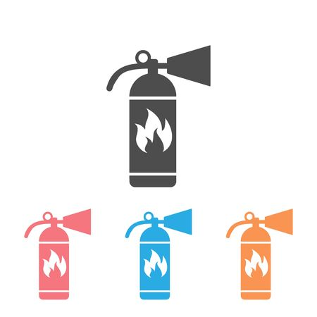 Fire extinguisher icon set template color editable. Fire danger. Fire protection symbol vector sign isolated on white background. Simple logo vector illustration for graphic and web design